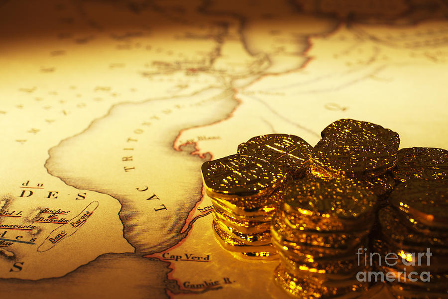 Treasure Map And Doubloons Photograph  - Treasure Map And Doubloons Fine Art Print