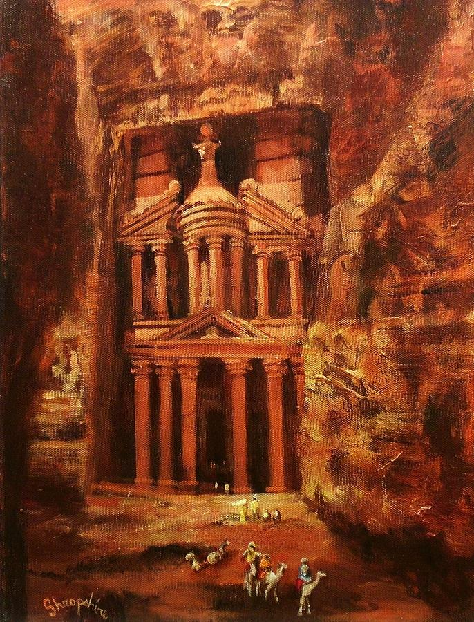 Treasury Of Petra Painting  - Treasury Of Petra Fine Art Print