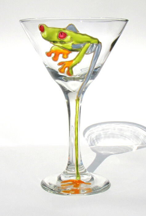 Hand Painted Martini Glass Painting - Tree Frog Martini by Pauline Ross