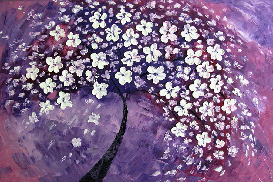 Tree In Purple Painting  - Tree In Purple Fine Art Print