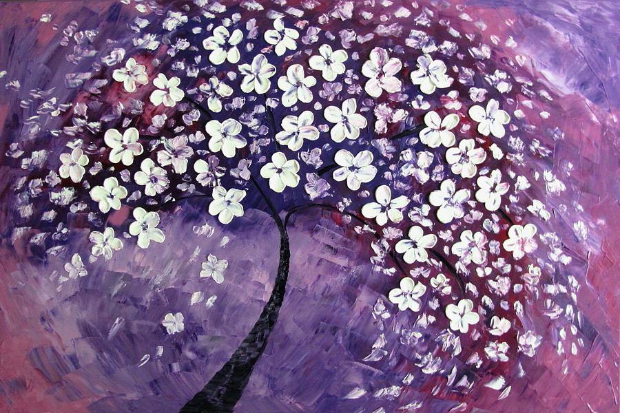 Tree In Purple Painting