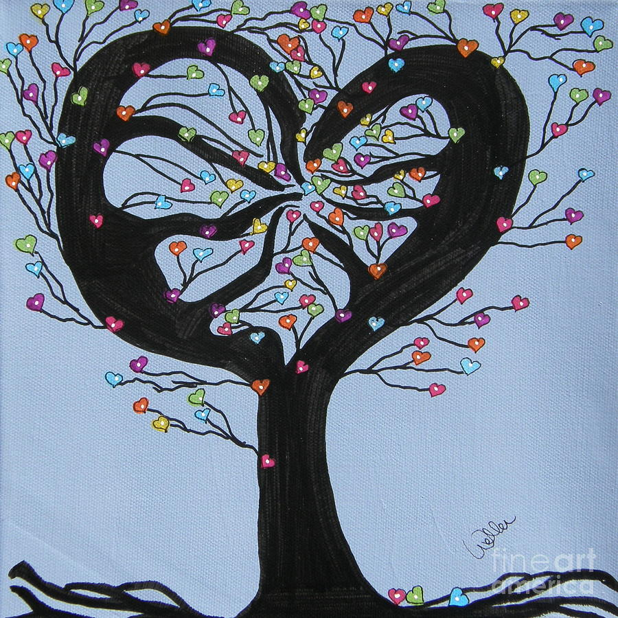 Tree Painting - Tree Of Hearts by Marcia Weller-Wenbert