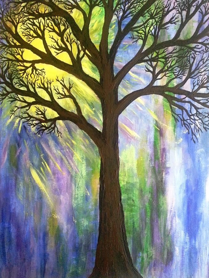 Sun  Painting - Tree On Blue  by Christine Chase