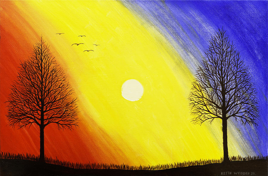 Tree Silhouette At Sunset Painting Painting