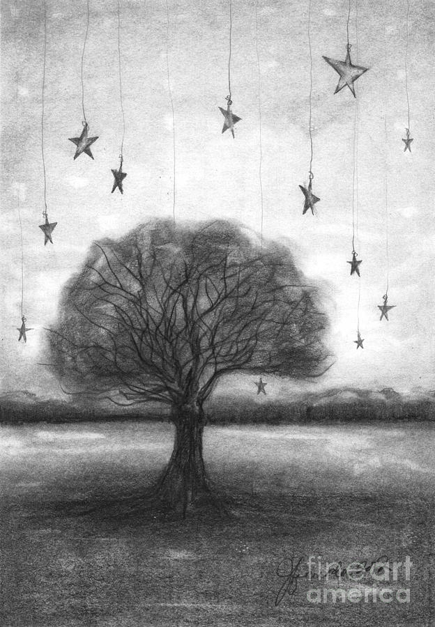 Tree Stars Drawing  - Tree Stars Fine Art Print