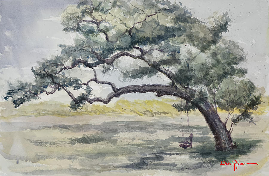 Da187 Tree Swing Painting By Daniel Adams Painting by ...