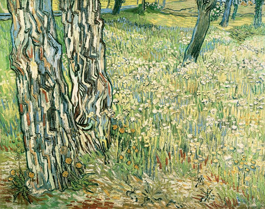 Art Painting - Tree Trunks In Grass by Vincent van Gogh