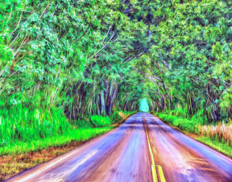 Tree Tunnel Kauai Painting  - Tree Tunnel Kauai Fine Art Print