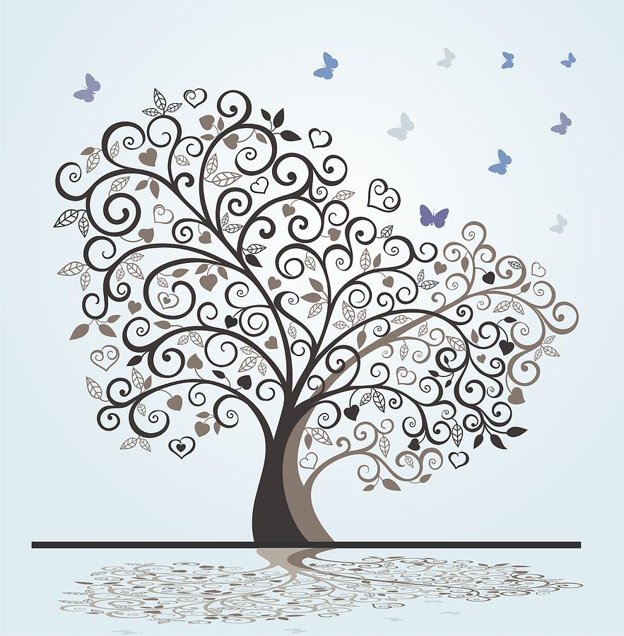 Tree With Swirls Hearts And Butterflies Drawing by Olivera ...