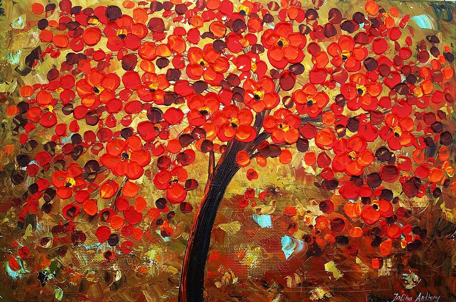 Trees In Red Painting