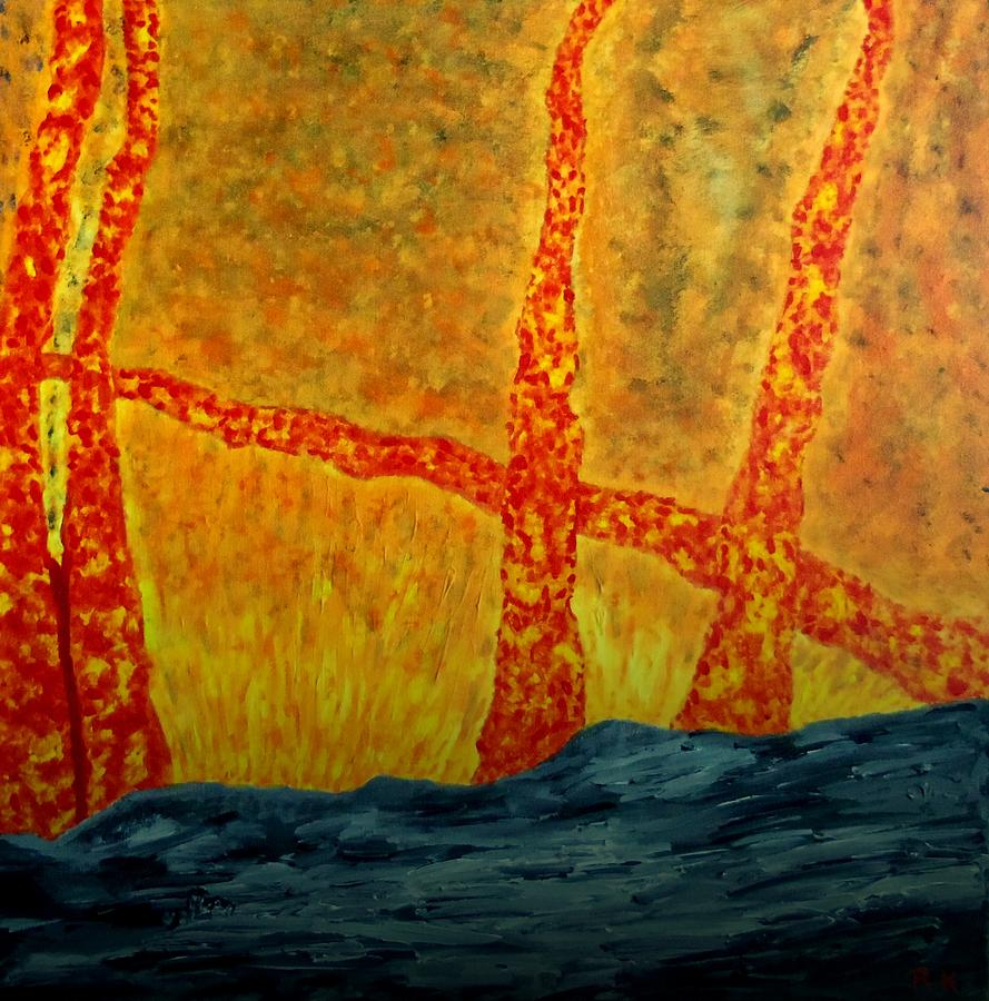 Trees On Fire Painting  - Trees On Fire Fine Art Print