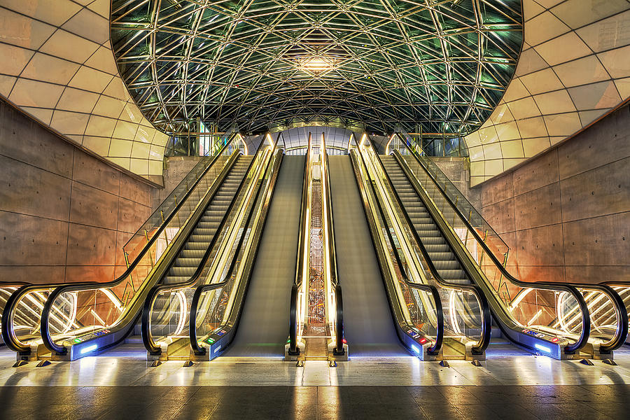 Escalator Photograph - Triangeln Station Escalators by EXparte SE