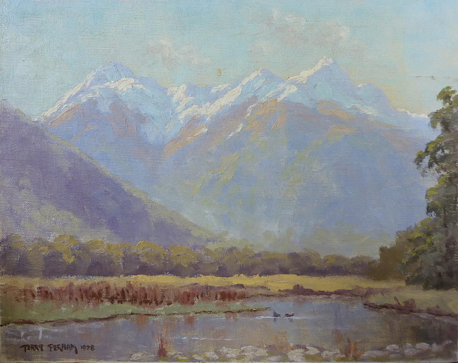Landscape Painting - Triangle Peaks by Terry Perham