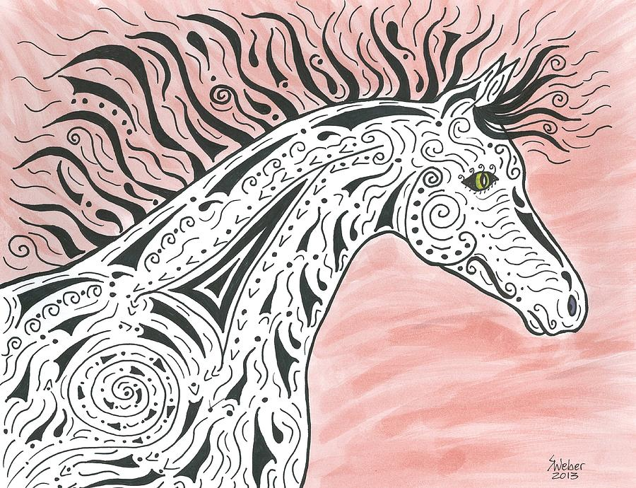 Horse Painting - Tribal Spirit Wind by Susie WEBER