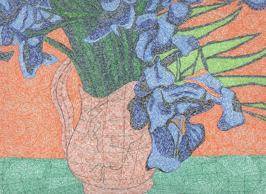 Tribute To Van Goghs Irises Drawing  - Tribute To Van Goghs Irises Fine Art Print