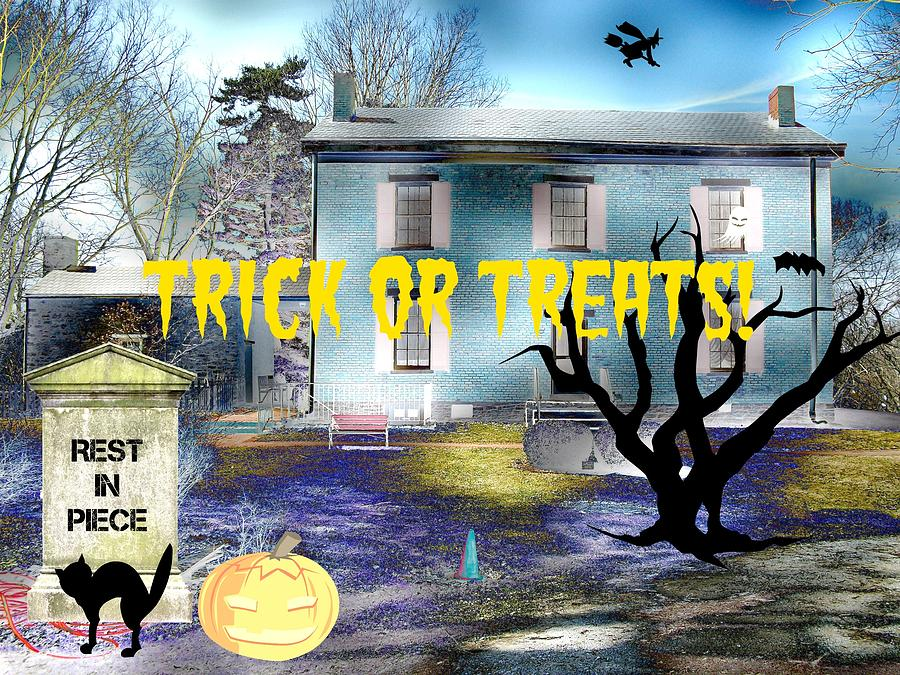 Trick Or Treats Haunted House Mixed Media  - Trick Or Treats Haunted House Fine Art Print