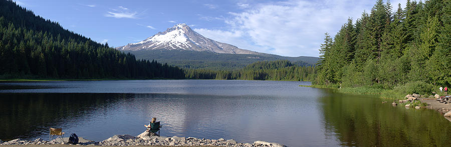 Trillium Lake And Mt Hood Panorama Oregon. Photograph  - Trillium Lake And Mt Hood Panorama Oregon. Fine Art Print