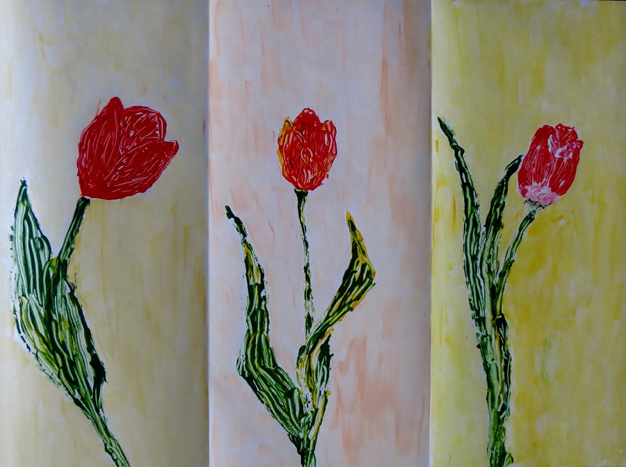 Trio Of  Red Tulips Painting  - Trio Of  Red Tulips Fine Art Print