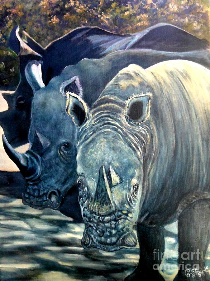 Trio Of Rhino Painting  - Trio Of Rhino Fine Art Print