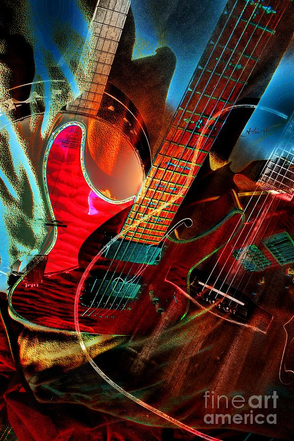 Triple Header Digital Banjo And Guitar Art By Steven Langston Photograph  - Triple Header Digital Banjo And Guitar Art By Steven Langston Fine Art Print