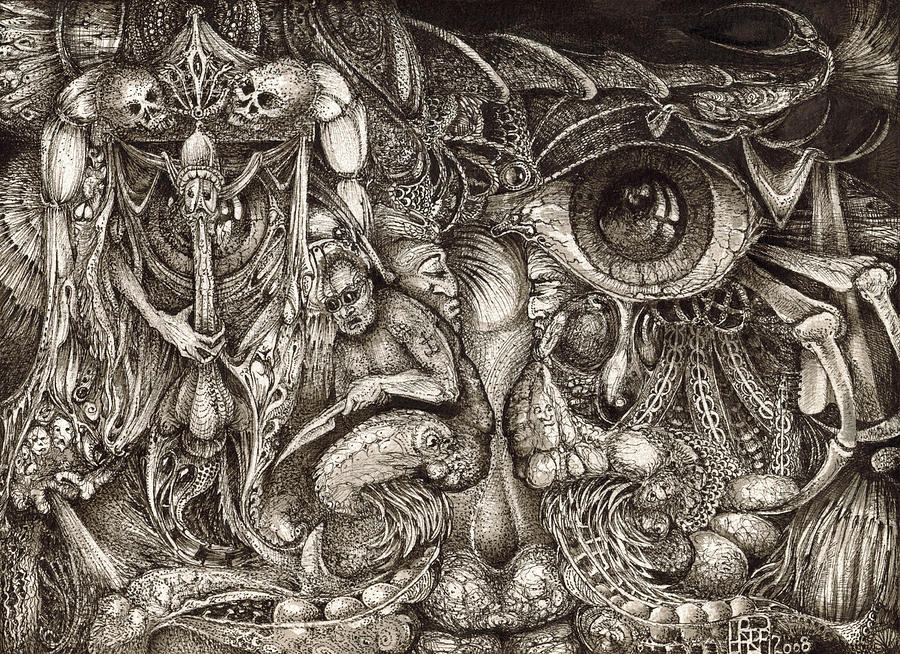 Surreal Drawing - Tripping Through Bogomils Mind by Otto Rapp