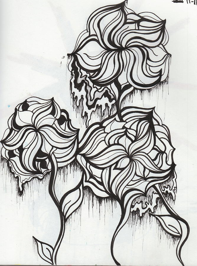 coloring pages trippy - trippy flowers drawing by abby keller