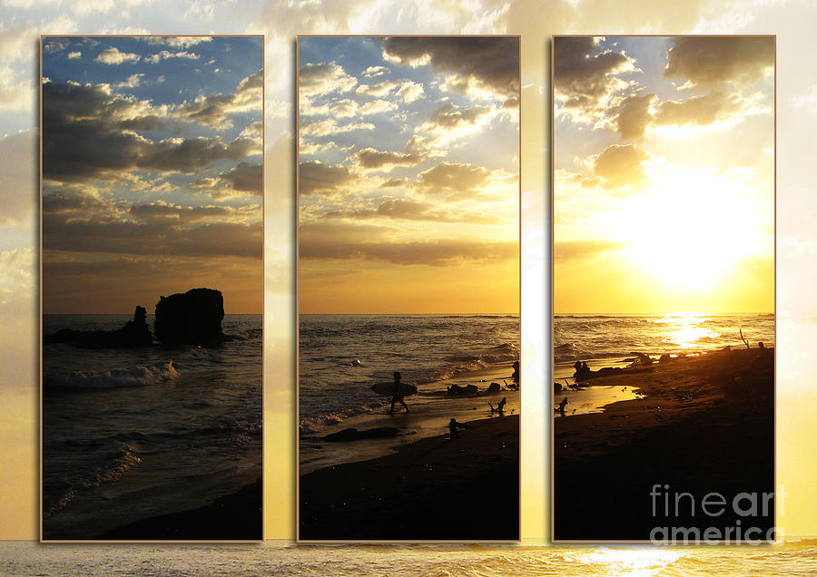 Triptych Rock On Gold Photograph