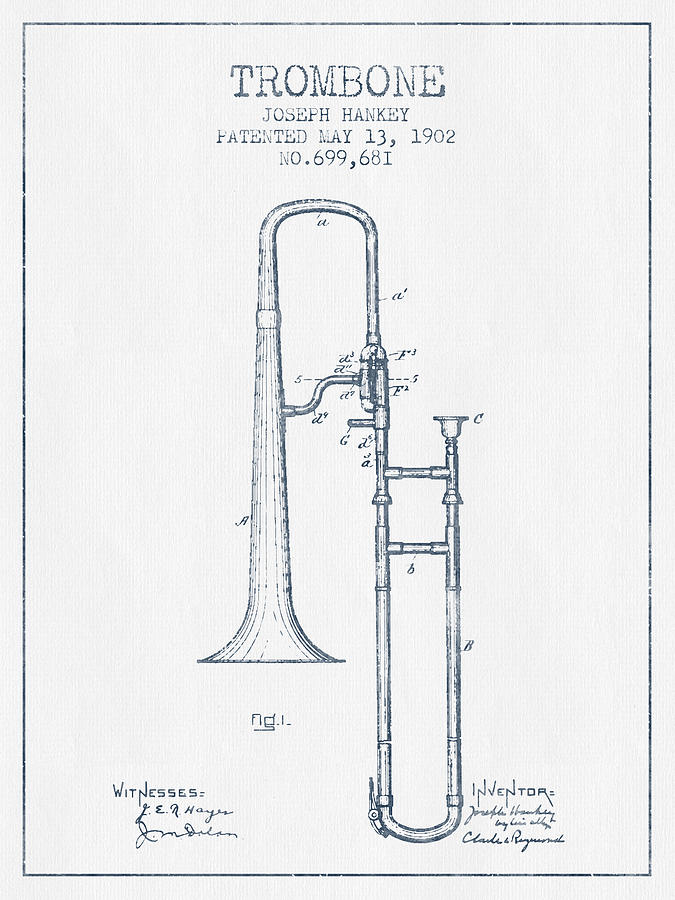 Trombone Drawing - Trombone Patent From 1902 - Blue Ink by Aged Pixel