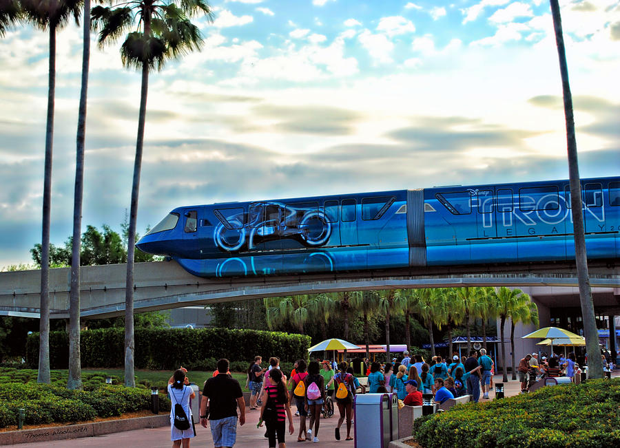 Monorail Photograph - Tron Monorail At Walt Disney World by Thomas Woolworth