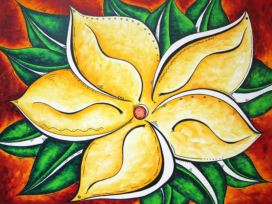 Tropical Abstract Pop Art Original Plumeria Flower Painting Pop Art Tropical Passion By Madart Painting
