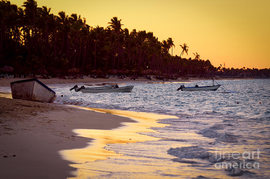 Tropical Beach At Sunset Photograph
