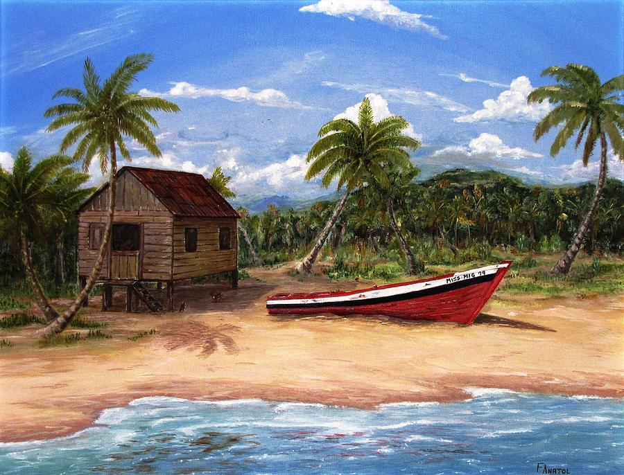 Tropical Beach Hut Painting By Frank Anatol