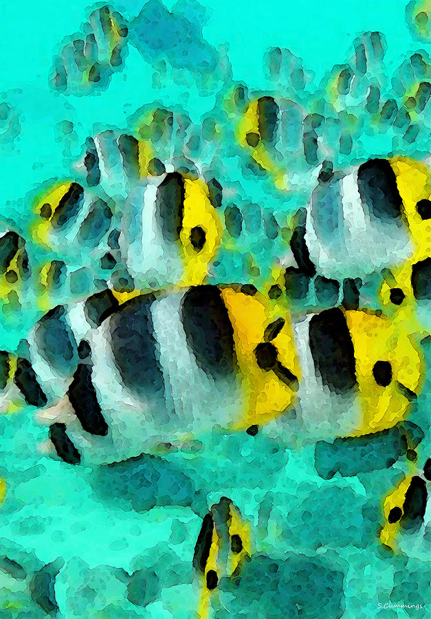 Tropical Fish - Schools Out Painting  - Tropical Fish - Schools Out Fine Art Print
