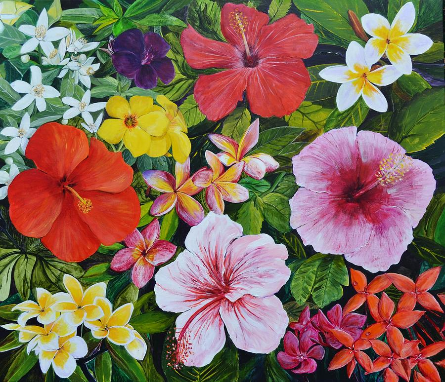 Tropical Flowers Painting by Mike Paget