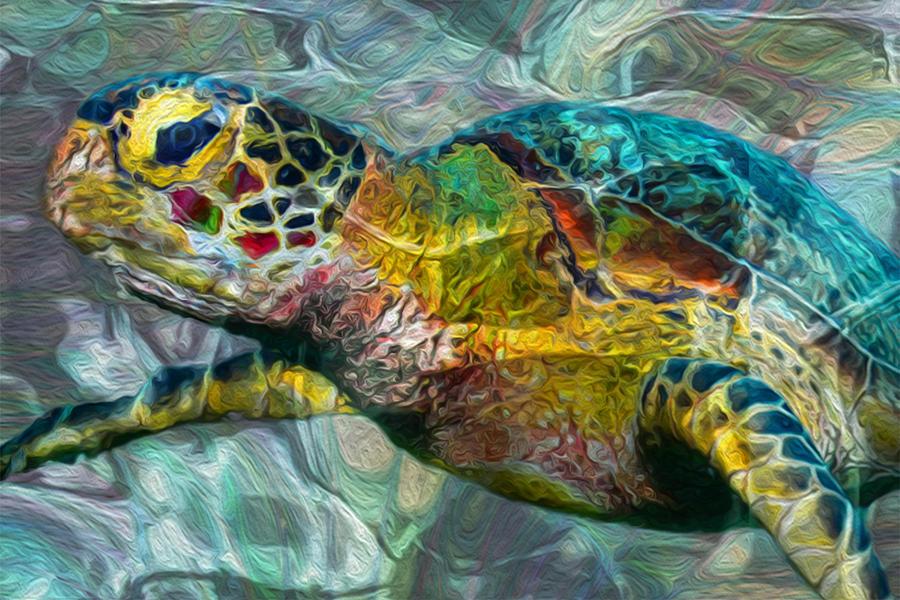 Sea Turtle Painting - Tropical Sea Turtle by Jack Zulli