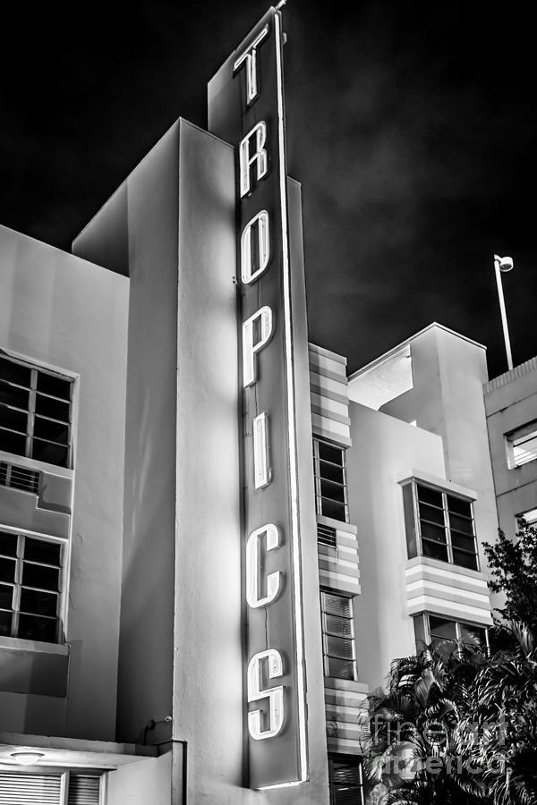 Tropics Hotel Art Deco District Sobe Miami - Black And White Photograph