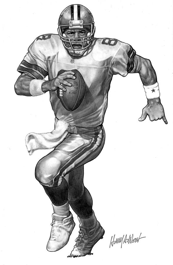 Troy Aikman Drawing  - Troy Aikman Fine Art Print