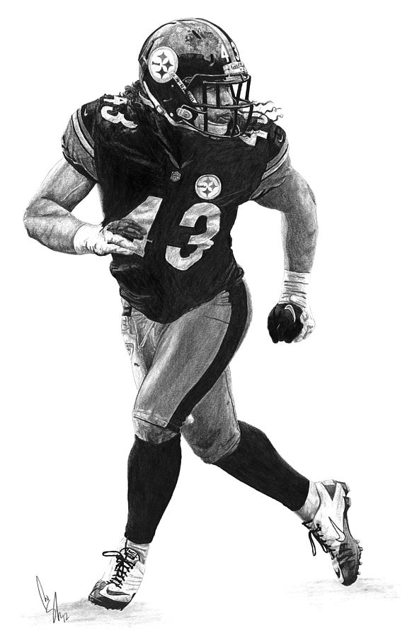 Troy Polamalu Drawing - Troy Polamalu by Bobby Shaw