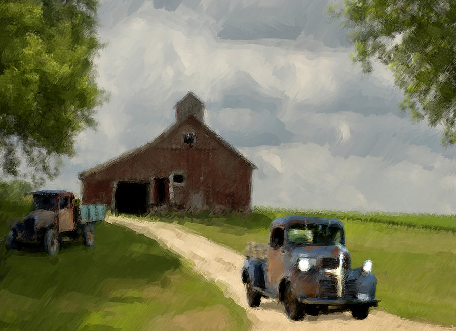 Trucks And Barn Painting  - Trucks And Barn Fine Art Print