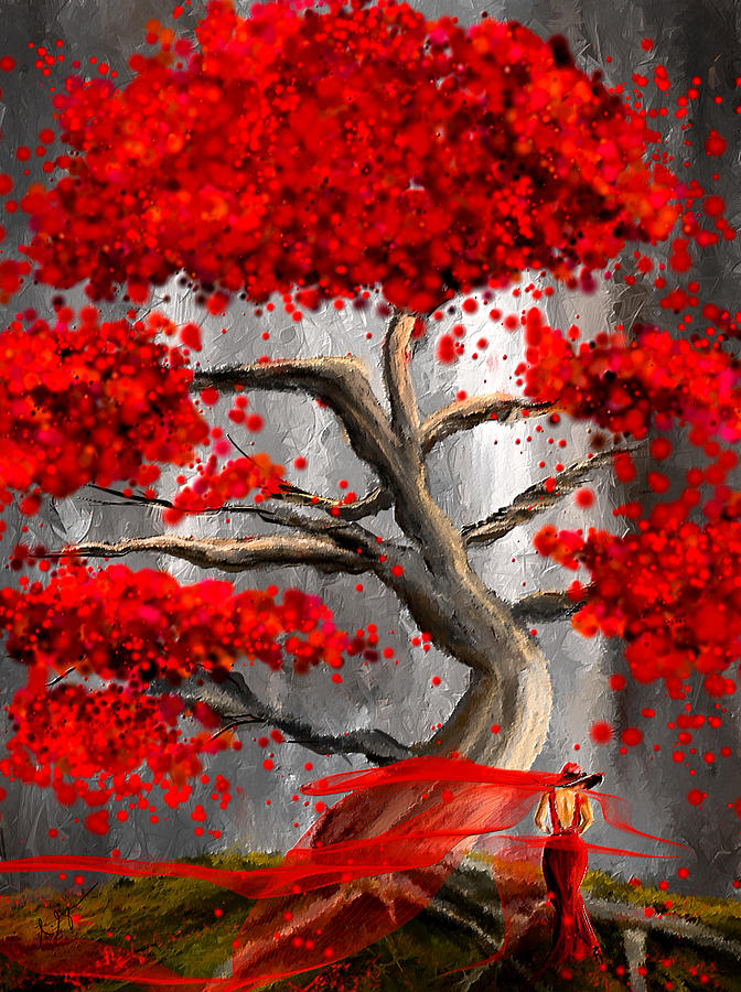 True Love Waits Red And Gray Art Painting By Lourry Legarde