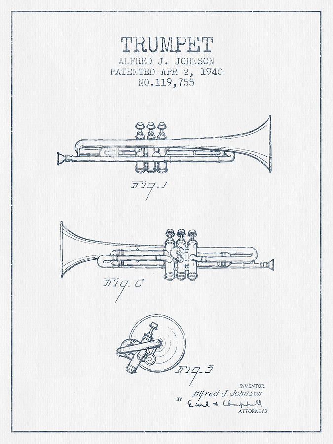 Trumpet Drawing - Trumpet Patent From 1940 - Blue Ink by Aged Pixel