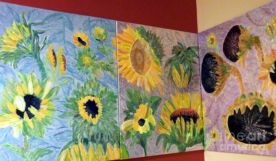 Triptych Sunflower Painting - Tryptich Corner Sunflowers by Vicky Tarcau