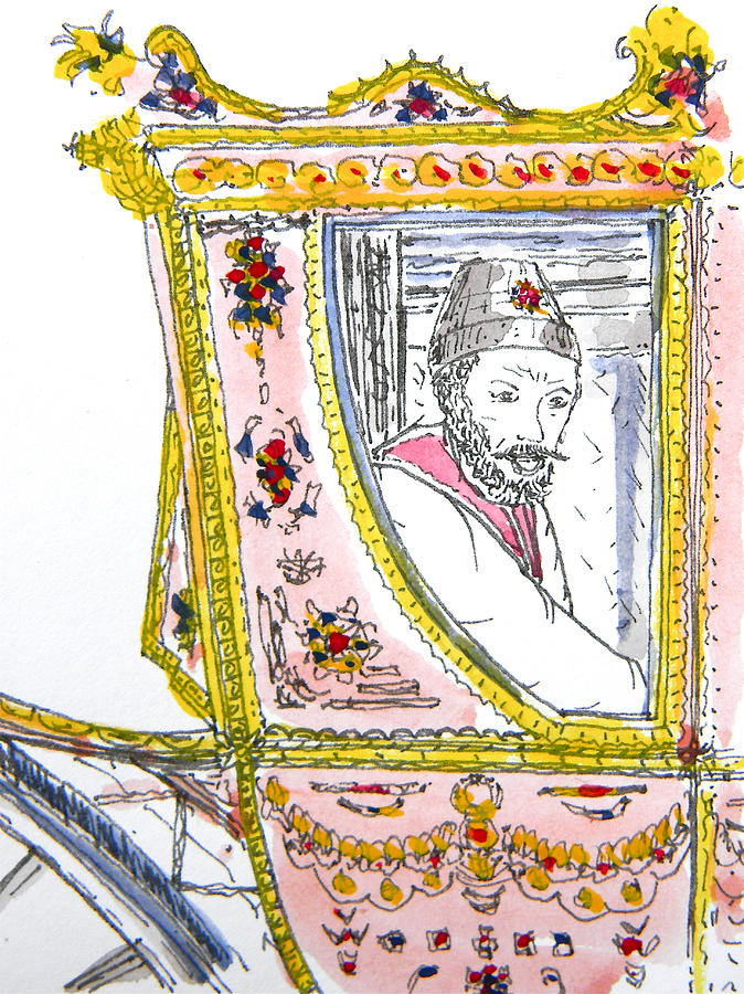 Tsar In Carriage Drawing  - Tsar In Carriage Fine Art Print