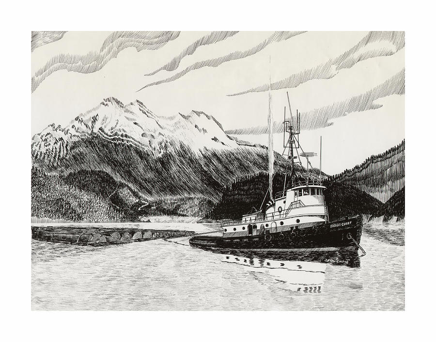 Tugboat Skagit Chief Drawing  - Tugboat Skagit Chief Fine Art Print