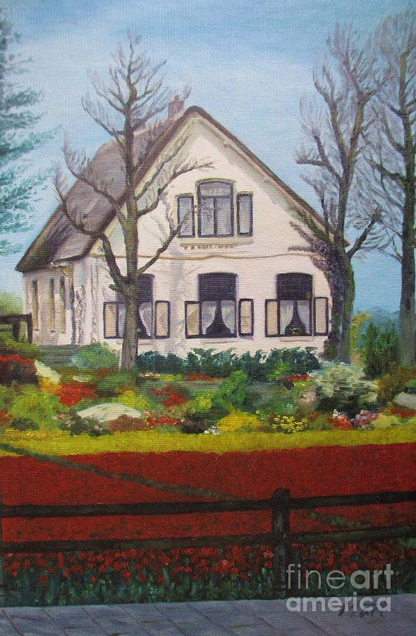 Tulip Cottage Painting  - Tulip Cottage Fine Art Print