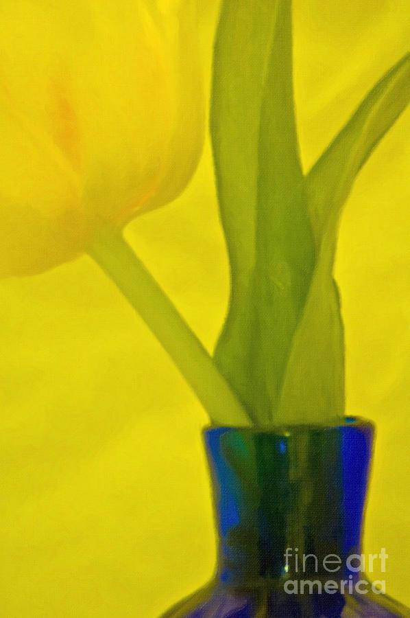 Tulip In Blue Vase Photograph