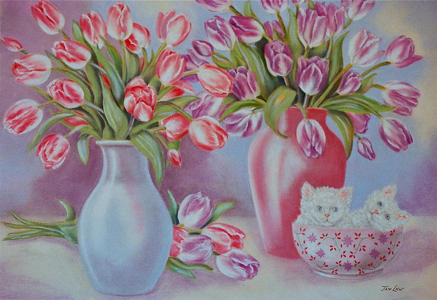 Tulips And Kittens Pastel  - Tulips And Kittens Fine Art Print