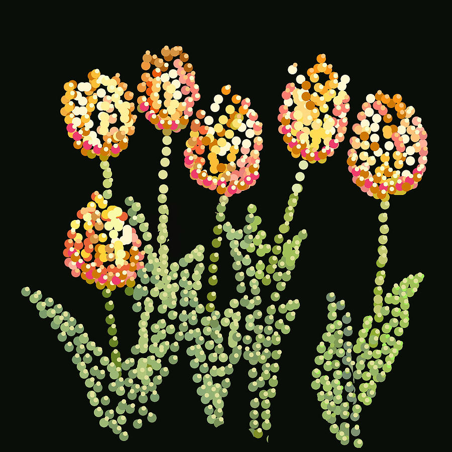 Tulips Bedazzled Digital Art  - Tulips Bedazzled Fine Art Print