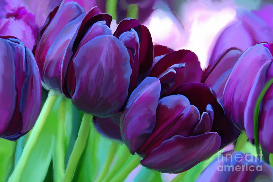 Tulips Dark Purple Painting By Tim Gilliland