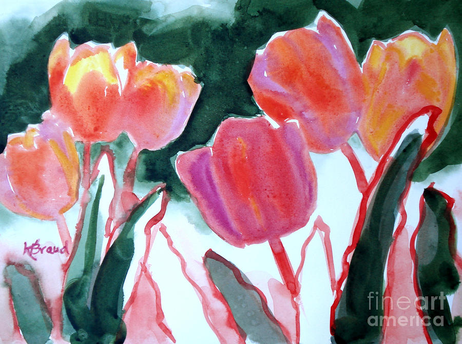 Tulips For The Love Of Patches Painting  - Tulips For The Love Of Patches Fine Art Print